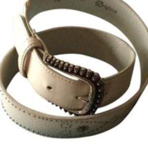 "Brighton off white ivory studded belt M 30"""